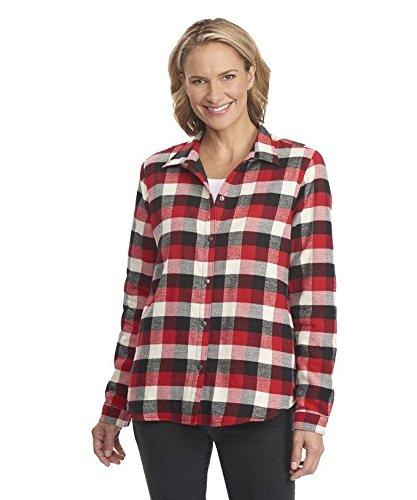 Woolrich Women's Pemberton Fleece Lined Flannel Shirt Jacket, Old Red Buffalo, X-Small