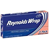Reynolds Wrap Standard Aluminum Foil, 3 boxes of 200 Square Feet (600 Total)