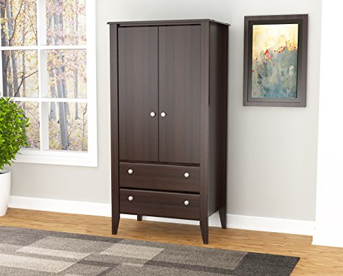 (Inval AM-17723 Espresso Wengue Wood Two Door and Drawer Armoire)