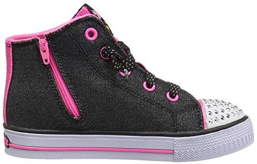 Skechers Mädchen Shuffles-Lil Rockin Stars Ausbilder Schwarz (Black/neon Pink)