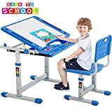 FDW Kids Study School Adjustable Height Table with Storage Blue