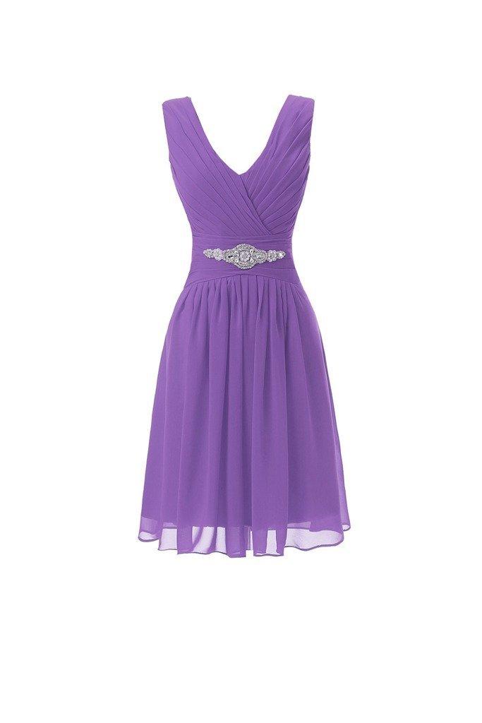 YSFS Women's V-neck Chiffon Short Bridesmaid Dresses Evening Party Gowns Light Purple US22W
