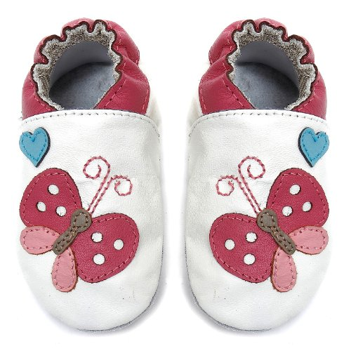 Momo Baby Infant Flutter White Soft Sole Leather Shoes - 0-6 Months1-2.5 M US Infant