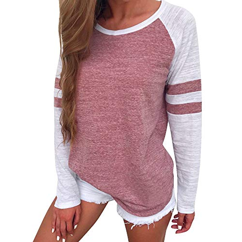 - POQOQ Tops T-Shirt Women Casual Shirt Round Neck Color Block Long Sleeve Blouse L Red