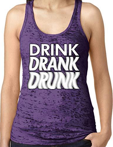 (Amdesco Ladies Drink Drank Drunk Burnout Racerback Tank Top, Purple Rush 2XL)