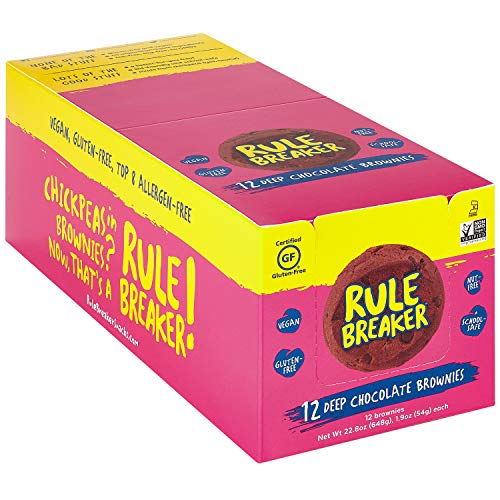 Rule Breaker Snacks, Deep Chocolate Brownie, Healthy and Unbelievably Delicious, Vegan, Gluten Free, Nut Free, Allergen Friendly, Kosher (12ct pack) ()