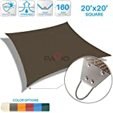 Patio Paradise 20u0027x 20u0027 Strengthen Large Sun Shade Sail Reinforced By Steel  Wire  Brown Square 220 GSM Heavy Duty Permeable UV Block Fabric Durable  Patio ...