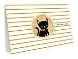 Black Cat Thank You Cards, 6-Pack by Night Owl Paper Goods
