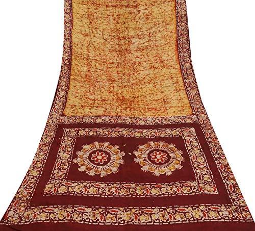 Silk Fabric Batik (Vintage Batik Printed 100% Silk Indian Yellow Saree Dress Making Craft Fabric.)