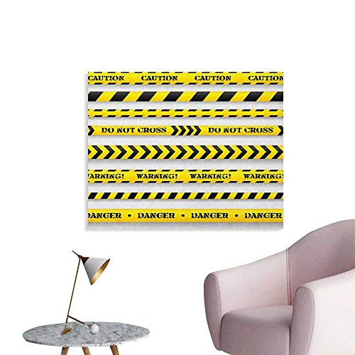 Anzhutwelve Yellow Wallpaper Cautionary Tapes Arrangement Danger Warning Expressing Banners Security Theme Cool Poster Black Yellow W28 xL20]()