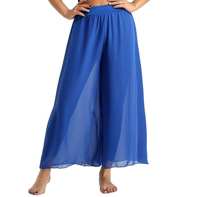 inlzdz Mujer Pantalón Ancho de Danza Falda de GasaPantalones ...