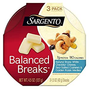 Sargento, Balanced Breaks Natural White Cheddar Cheese with Cashews & Raisins, 3 Count , 1.5 oz