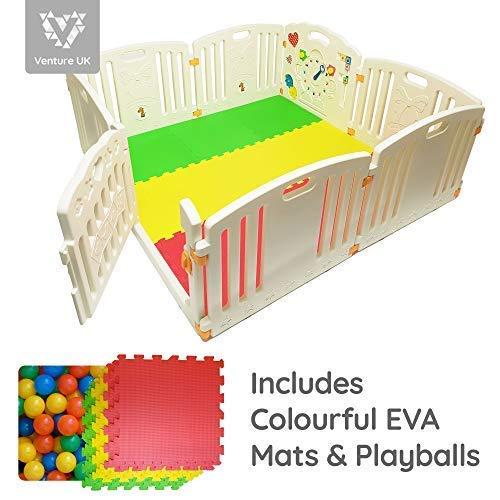 All Stars Parc bébé 8pièces XXL avec panneaux d'activité tapis de sol et 200 balles colorées Fabriqué avec matériaux non toxiques product image