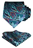 HISDERN Paisley Floral Wedding Tie Handkerchief Woven Classic Men's Necktie & Pocket Square Set Aqua & Purple