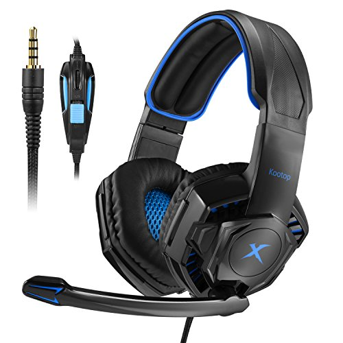 Kootop K10 Gaming Headset for Xbox one PS4 Over-Ear Headphones with Noise Canceling Mic,Bass Surround Soft Memory Earmuffs for Computer Laptop Mac