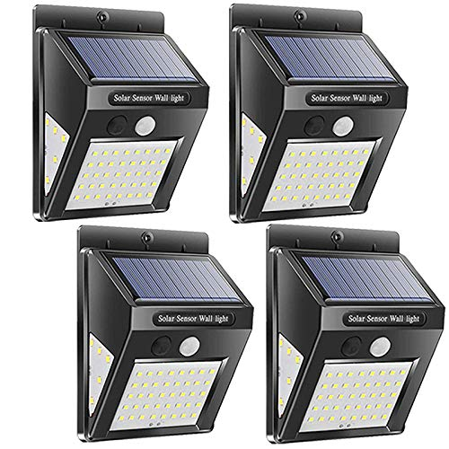 MaYoYo Solar Lights Outdoor, Wireless 50 LED Motion Sensor Solar Lights Upgraded with Wide Lighting Area, Easy Install Waterproof Security Lights for Front Door, Back Yard, Driveway, Garage 4 Pack