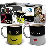 Magic Color Changing Funny Mug - 2 Pack Cool Coffee Tea Unique Heat Changing Sensitive Cup 12 oz Yellow & White Happy Face Design Drinkware Ceramic Mugs Birthday Gift Idea for Mom Dad Women & Men Set