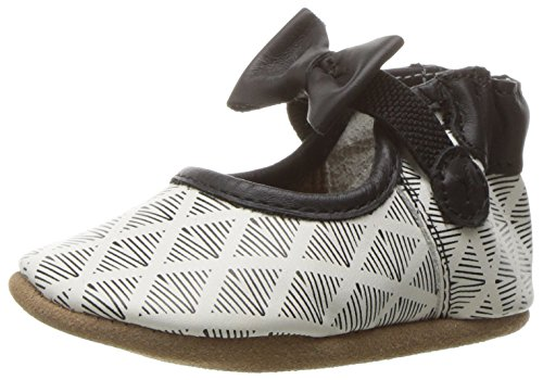 Robeez Girls' Mary Jane Soft Soles, Modern Diamond Black/White, 12-18 Months M US -