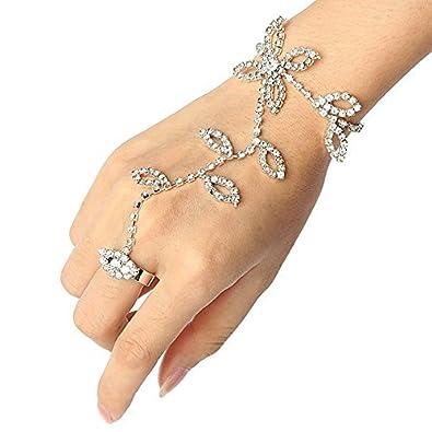 Rhinestone Hand Harness Bracelet Bangle Slave Chain Link Finger Ring Bracelet jhyamkkq