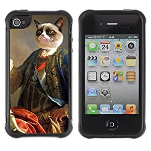 Hybrid Anti-Shock Defend Case for Apple iPhone 4 4S / Grumpy Cat Royalty
