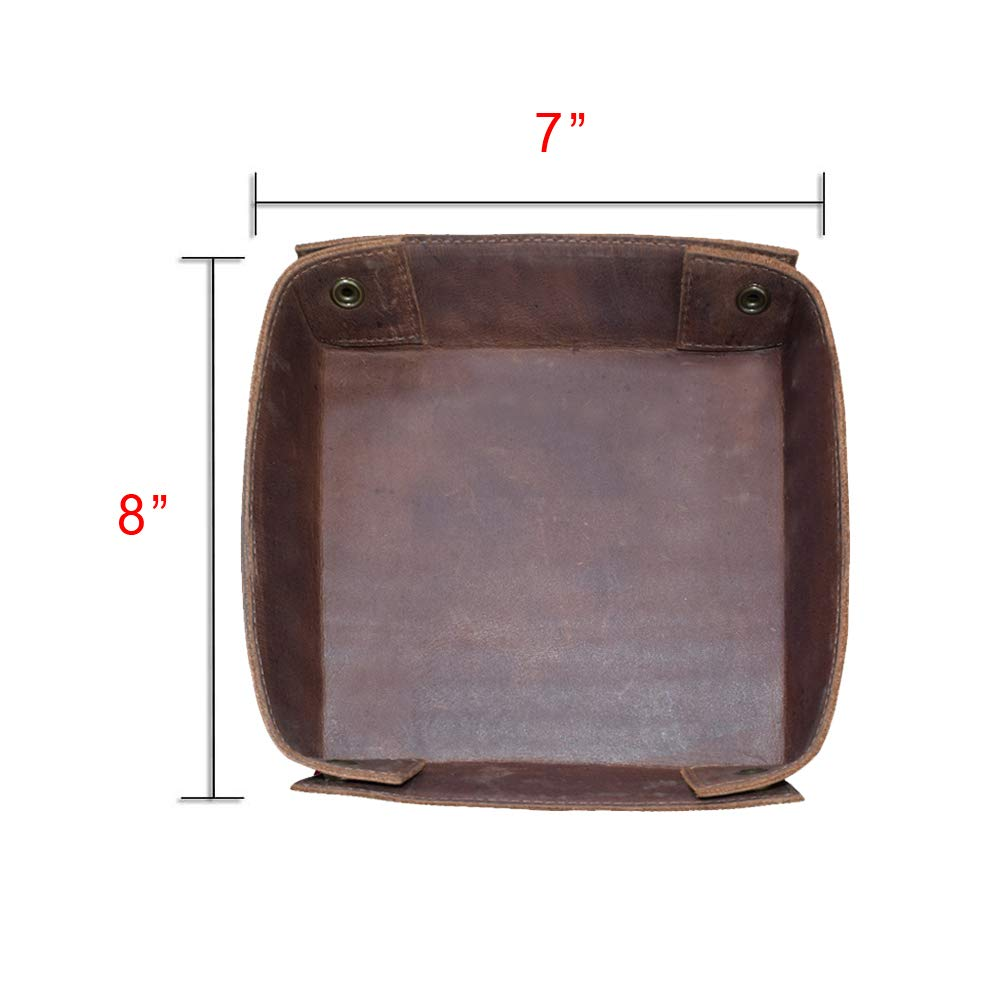 Hide /& Drink Bourbon Brown Leather Catchall Change Keys Coins Jewels Box Tray Big Storage Handmade Includes 101 Year Warranty