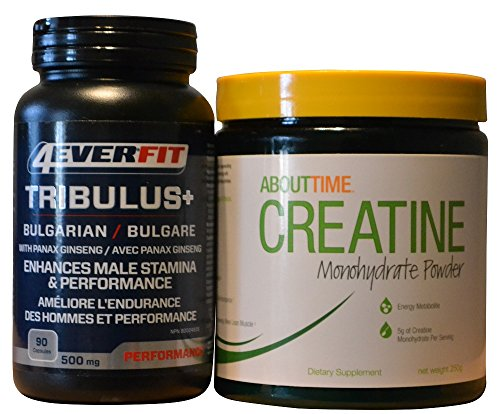About Time Creatine Monohydrate Powder 50 Servings Bundle with 4 Ever Fit Bulgarian Tribulus Terrestris 90 Capsules
