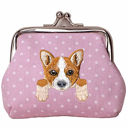 - [ WELSH CORGI ] Cute Embroidered Puppy Dog Buckle Coin Purse Wallet [ Pink Polka Dots ]