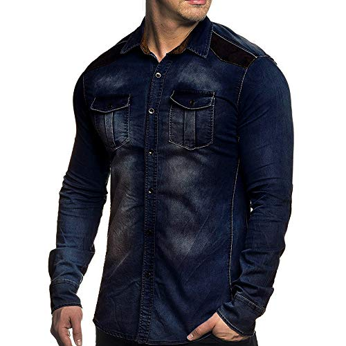 PASATO Mens' Autumn Winter Vintage Distressed Demin Jacket Tops Coat Outwear New Hot!(Dark, Blue) by PASATO