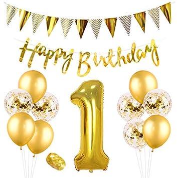 Kreatwow Oro 1er cumpleaños Decoraciones para Fiestas Número ...