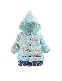 Vinjeely Toddler Baby Girls Floral Print Winter Warm Hooded Jacket Windproof Coat