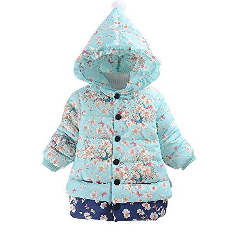 (Ratoop Baby Girls Hooded Coat Casual Snowsuit Winter Warm Hoodies Windproof Floral Print Jacket Zipper Outerwear (Light Blue, 80))