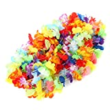 Fun Central BC851 36'' to 42'' Silk Hawaiian Flower Leis Necklaces, Simulated Colorful Luau Floral Design for Hawaii Tropical Island Beach Luau, Costume Theme Party Event- 50ct