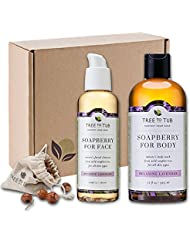 SPRING ONLY - Real, Organic Face And Body Bath Set. The Only pH 5.5 Balanced Shower Set For Dry Skin. Natural Bath Gift Sets For Women. Comes With Real Wild Soapberries - Lavender