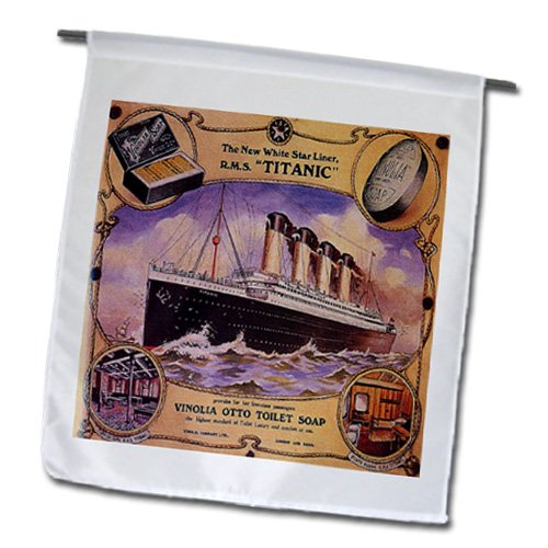 Cruise Collage (3dRose fl_163164_1 Image of Rare Collage Ad for The Titanic Cruise Garden Flag, 12 by 18-Inch)