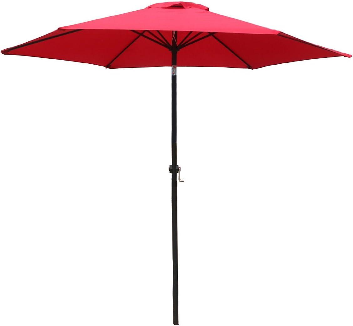 FDW Patio Umbrella 9 Aluminum Outdoor Patio Market Umbrella Tilt W Crank