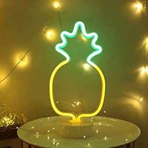 ENUOLI Pineapple Neon Signs Warm White LED Neon Light Sign with Holder Base Indoor Decor Battery Operated Lights for Home Party Birthday Bedroom Bedside Table Decoration Children Kids Gifts