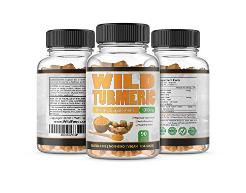 Turmeric Extract Curcumin 95 Cuccuminoids with Bioperine Black Pepper Extract, High Potency and Absorption Supplement by Wild Foods, 90 Count, 1010mg, USA Made Two Bottles