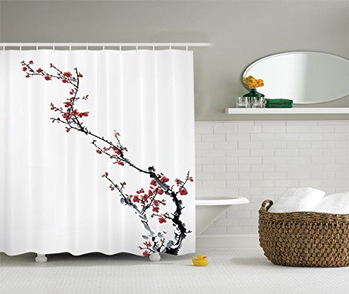 Asian Curtain (Ambesonne Watercolor Flowers Decorations Collection, Spring Cherry Branches Classic Asian Style, Polyester Fabric Bathroom Shower Curtain Set with Hooks, Paprika White Grey)