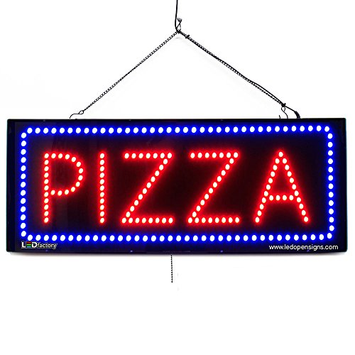 Large LED Window Business Sign - Pizza - Extra Bright LEDs - Can Be Seen Through Tinted Windows - Extra Large - 32 inches Wide (#2688)