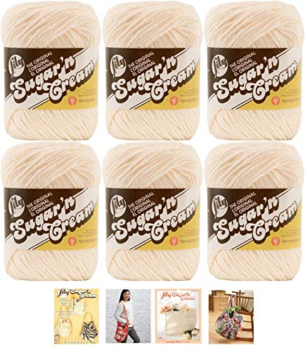 Bulk Buy: Lily Sugar'n Cream Yarn 100% Cotton Solids and Ombres (6-Pack) Medium #4 Worsted Plus 4 Lily Patterns (Soft Ecru 01004)