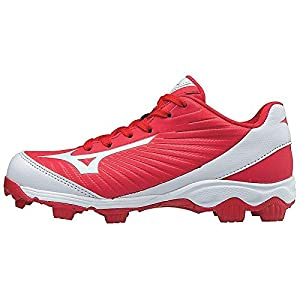 Mizuno (MIZD9) Boys' 9-Spike Advanced Franchise 9 Molded Cleat-Low Baseball Shoe, Red/White, 2 Youth US Little Kid
