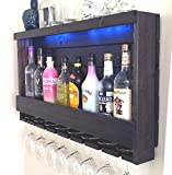 Wine Rack - QUICK Ship - RUSTIC - Liquor Cabinet - Dark BROWN Espresso Finish - with Blue LED Recessed Lights