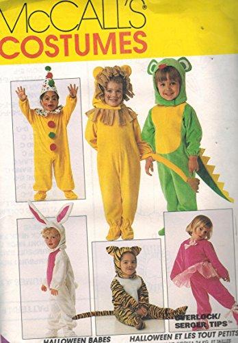 7853 McCalls Sewing Pattern UNCUT Girls Boys Child Halloween Costume Clown Bunny Lion Tiger Mouse Santa Dinosaur Ballerina Size Infant New Born Small (Clown Costume Patterns)