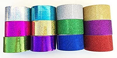 "Fun and Beyond 12 Roll Variety Pack 1.88"" Sparkle Glitter and Holographic All Purpose Duct Tape, Decorative, Art, Craft and more"