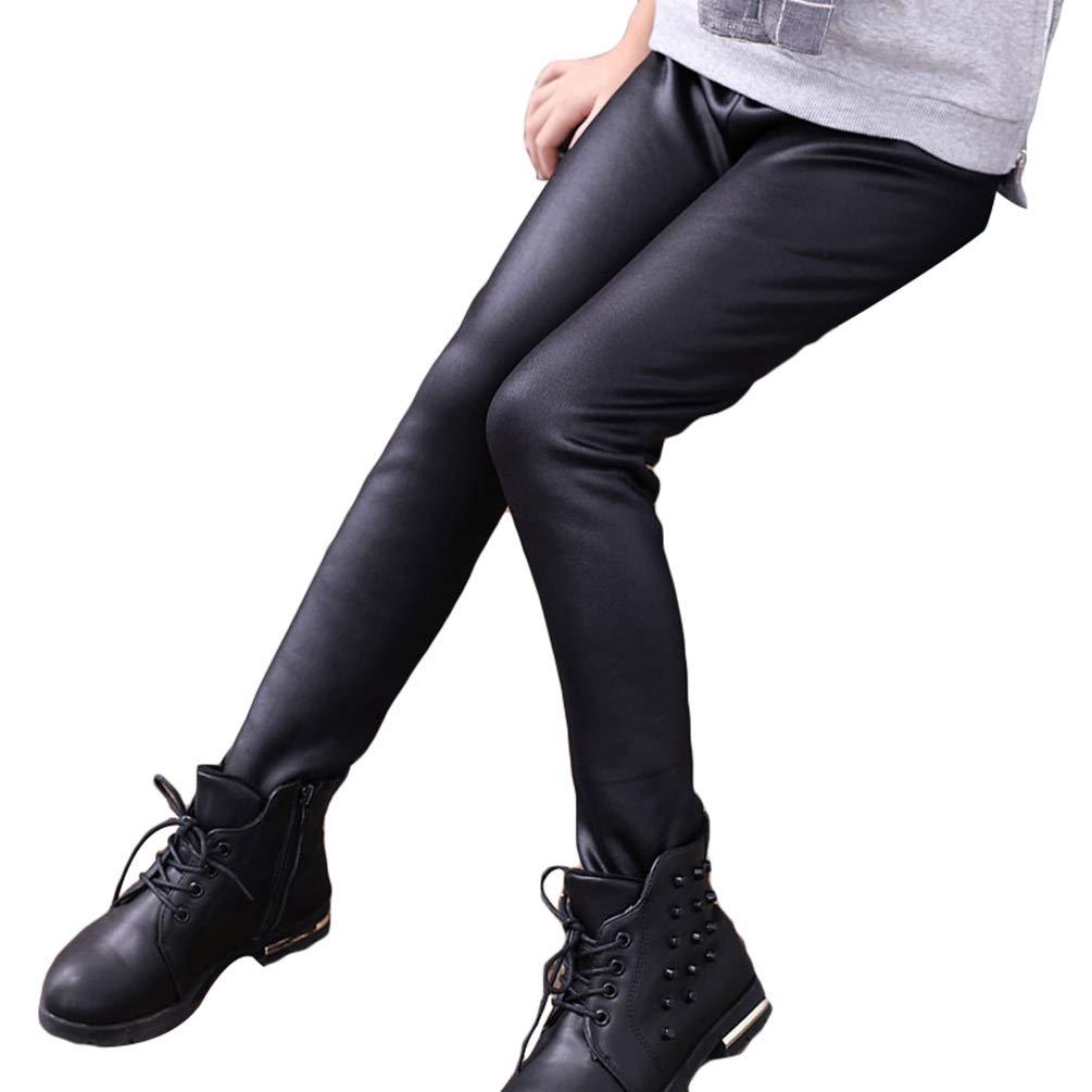 Runyue Enfants Fille Pantalon Imitation Cuir /Élastique Leggings Chaud /Épais Tight Extensible Taille Leggins