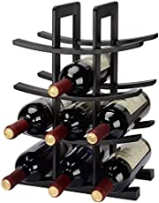 SortWise ® 12-Bottle Dark Espresso Bamboo Wine Rack, Small Wine Rack Perfect for Vino Bars, Cellars, Countertop, Apartment - Great for Wedding Gift