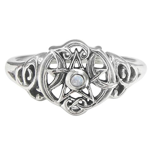 Dryad Design Sterling Silver Heart Pentacle Ring with Natural Rainbow Moonstone (Size 4-15) (8) - Sterling Silver Pentacle Ring