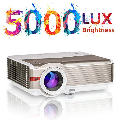 """Full HD LED Video Projector 5000 Lumens and 200"""" Display Support 1080P Widescreen LCD Projector for Home Theater Outside Movie Parties Game Smartphone DVD Fire TV Stick TV Box USB Flash Drive PC"""