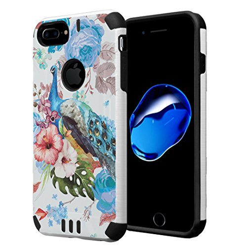 iPhone 7 Plus Case, Capsule-Case Hybrid Dual Layer Silm Defender Armor Combat Case Brush Texture Finishing for Apple iPhone 7 Plus/iPhone 6S Plus/iPhone 6 Plus - (Flower -