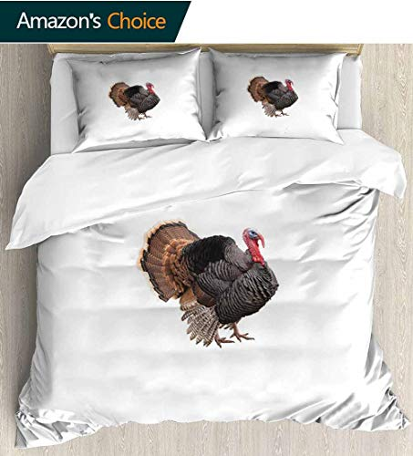 Turkey Bedding Sets Duvet Cover Set,Realistic Bird Picture Thanksgiving Day Family Dinner Theme Farm Animal Photo Bedding Set for Kids,Boys and Teens 68
